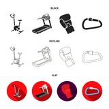 Exercise bike, treadmill, glove boxer, lock. Sport set collection icons in black,flat,outline style vector symbol stock. Illustration Royalty Free Stock Photo