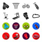 Exercise bike, treadmill, glove boxer, lock. Sport set collection icons in black,flet style vector symbol stock. Illustration Stock Photos