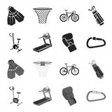 Exercise bike, treadmill, glove boxer, lock. Sport set collection icons in black,monochrome style vector symbol stock. Illustration Royalty Free Stock Photos