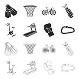 Exercise bike, treadmill, glove boxer, lock. Sport set collection icons in black,outline style vector symbol stock. Illustration Royalty Free Stock Photography