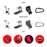 Exercise bike, treadmill, glove boxer, lock. Sport set collection icons in cartoon ,flat style vector symbol stock. Illustration Stock Image