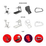 Exercise bike, treadmill, glove boxer, lock. Sport set collection icons in flat,outline,monochrome style vector symbol. Stock illustration Stock Images