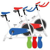 Exercise Bikes And Bottles Illustrations Isolated On White Background Stock Photography