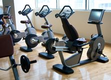 Exercise bikes Stock Image