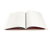 Exercise book. With red margins over the white background Royalty Free Stock Photo