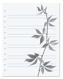 Exercise book with black-white virginia creeper twig Royalty Free Stock Image