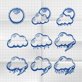 Exercise book collection clouds icon. Exercise book collection clouds icon, sketch cloud and sun, weather phenomenon, template design element Stock Images