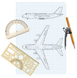 Exercise book with a drawing for model airplane. Stock Images