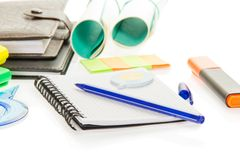 Exercise book, handle, leaflets and diary Stock Photo