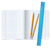 Exercise book with ruler Royalty Free Stock Photos