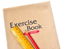 Exercise book with ruler and pencil Stock Photography