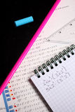 Exercise book and school accessories Royalty Free Stock Image