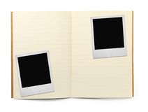 Exercise book and two photo frames Royalty Free Stock Image