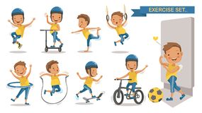 Exercise boy. Set with play football, rope jumping, Roller Blade, Scooter, yoga,hang, hung, Hula Hoop, Skateboarding, cycling. Cartoon character design. Vector royalty free illustration