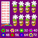 Exercise for children with multiplication by eight - need to paint the flowers in relevant color. Stock Images