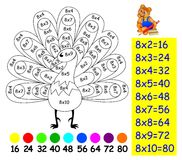 Exercise for children with multiplication by eight - need to paint image in relevant color. Royalty Free Stock Photography
