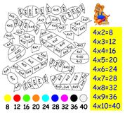 Exercise for children with multiplication by four - need to paint image in relevant color. Stock Photography