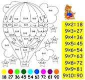 Exercise for children with multiplication by nine - need to paint image in relevant color. Stock Photography