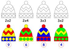Exercise for children with multiplication. Paint each cap in relevant color. Stock Photo