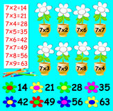Exercise for children with multiplication by seven - need to paint the flowers in relevant color. Royalty Free Stock Photos