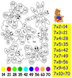 Exercise for children with multiplication by seven - need to paint image in relevant color. Vector image. Developing children skills for counting and Royalty Free Stock Photo