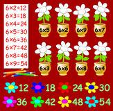 Exercise for children with multiplication by six - need to paint the flowers in relevant color. Royalty Free Stock Photography