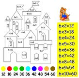 Exercise for children with multiplication by six - need to paint image in relevant color. Stock Photography