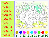 Exercise for children with multiplication by three. Need to paint image in relevant color. Vector image. Scale to any size without loss of resolution Royalty Free Stock Photo