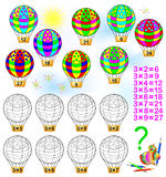 Exercise for children with multiplication by three. Royalty Free Stock Photography