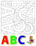 Exercise for children - need to find the hidden letters and paint them in relevant colors. Royalty Free Stock Photography