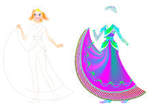 Exercise for children to draw and paint beautiful dress for the favorite doll Royalty Free Stock Images