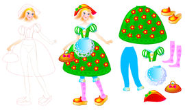 Exercise for children to draw and paint beautiful dress for the favorite doll Stock Photo