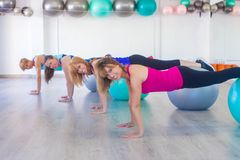 Exercise class with balls. Women exercise class with balance balls Royalty Free Stock Image