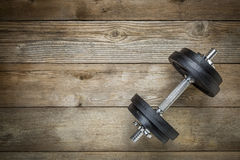 Exercise concept - iron dumbbell Royalty Free Stock Images