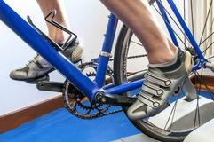 Exercise with cyclette Stock Image