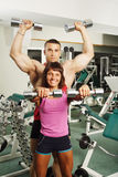 Exercise with dumbbells Stock Photo