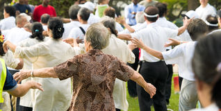 Exercise for the Elderly. An elderly woman participates in a mass public exercise demonstration together with other elderly men and women in a public park Royalty Free Stock Photo