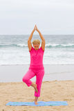 Exercise elderly woman. Happy elderly woman doing exercise on beach royalty free stock photos