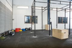 Exercise Equipment At Cross Fitness Box Royalty Free Stock Photos