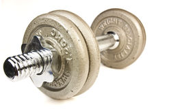 Exercise equipment dumbbell weight exercises. Royalty Free Stock Photography