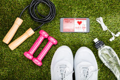Exercise Equipment On Grassy Field Royalty Free Stock Images