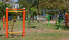 exercise equipment in public park Royalty Free Stock Photo