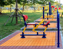 Exercise Equipment in public park Stock Photo