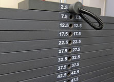 Exercise equipment -rack of weight plates in gym Royalty Free Stock Image