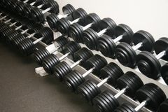 Exercise equipment weights. Neatly stored in a police gym Stock Photo