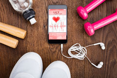 Exercise Equipment On Wooden Floor Stock Images
