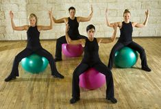 Exercise on fitness ball Royalty Free Stock Images