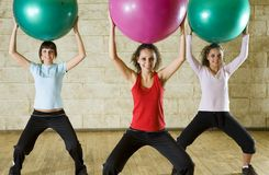 Exercise with fitness ball royalty free stock photography