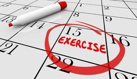 Exercise Fitness Schedule Workout Class Day Calendar Stock Photography