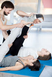 Exercise for flexibility with partner Royalty Free Stock Photos